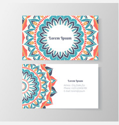 Business card with mandala floral pattern vector
