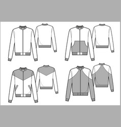 Men sport bomber technical sketch vector