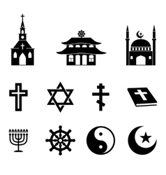 Religion icons set vector image