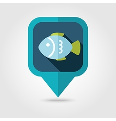 Fish flat pin map icon map pointer vector