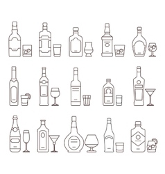 Alcohol drink beverages outline icons bottles and vector
