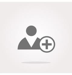 Add friend button icon over white vector