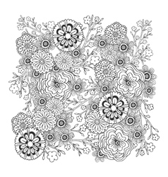 Adult coloring book page blossom floral vector