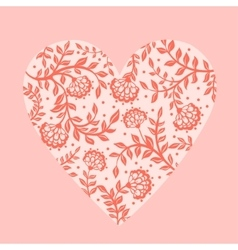 Beautiful greeting floral heart vector image vector image