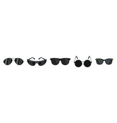 black glasses icon set flat style vector image