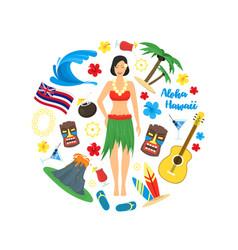 cartoon symbol of hawaii round design template vector image vector image