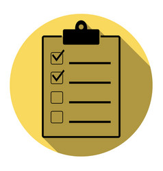 Checklist sign flat black vector