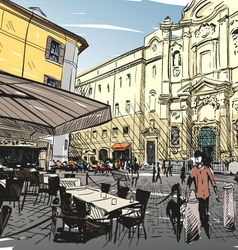 City hand drawn Cafe sketch vector image vector image