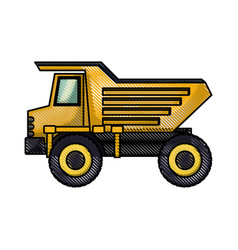 dump truck flat icon in colored crayon silhouette vector image vector image