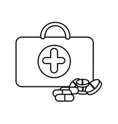 figure suitcase health with treatment icon vector image vector image