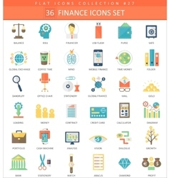 Finance color flat icon set Elegant style vector image vector image