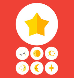 Flat icon bedtime set of nighttime lunar star vector