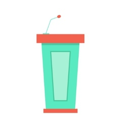 green trapezoidal tribune icon with microphone vector image vector image