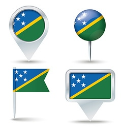 Map pins with flag of Solomon Islands vector image vector image
