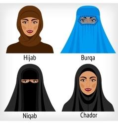 Muslim women in traditional headwear vector image vector image