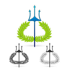 Olive branch with trident symbol of greek god vector