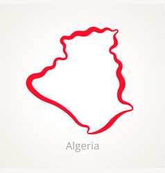 Outline map of algeria marked with red line vector