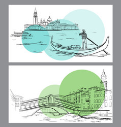 Rialto bridge and lido island venice sketch vector