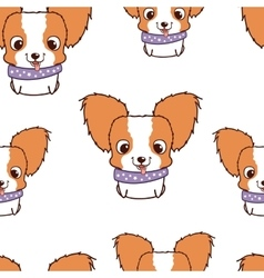 Seamless pattern with papillon puppies colorful vector