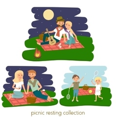 Set of happy family picnic resting vector