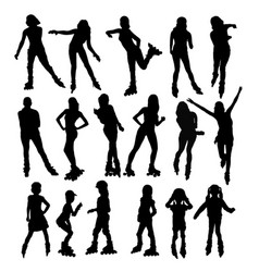 silhouettes of people rollerskating vector image vector image