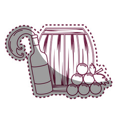 Sticker line bottle splashing wine barrel and vector