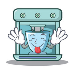 tongue out coffee maker character cartoon vector image