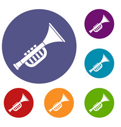 Trumpet toy icons set vector