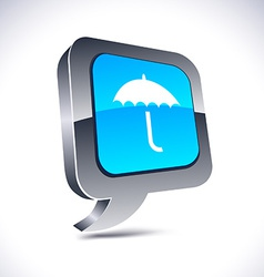 Umbrella 3d balloon button vector
