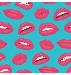 Vintage pink red lips kiss seamless pattern on vector image