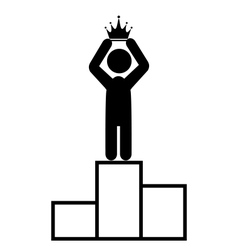 Winner People Man First Place with Crown Flat vector image