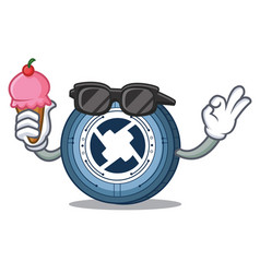 With ice cream 0x coin character cartoon vector