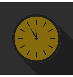 Yellow round button - black last minute clock icon vector