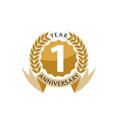 1 years ribbon anniversary vector