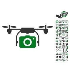 Camera Drone Icon With Bonus vector image