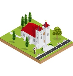 Isometric 3d church building vector