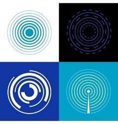 Blue circle signal waves generate sound or radar vector
