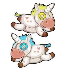 Two handmade soft toys unicorn isolated vector