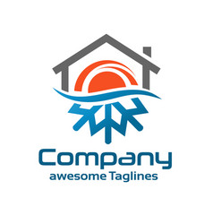 Hot and cold symbol with roofing logo vector