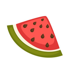 Slice of watermelon with red flesh and black seeds vector