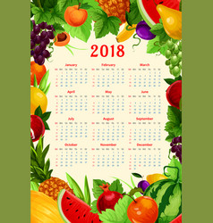 Calendar 2018 fresh tropical exotic fruits vector