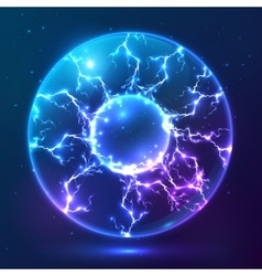 Blue shining plasma ball vector