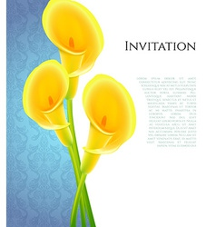 Invitation with callas flowers vector