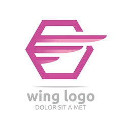 Logo icon wing hexagon pink design symbol icon vector