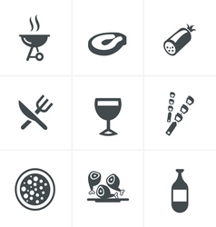 Party and grill icon set vector
