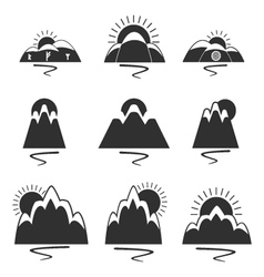 Set of logos with mountains vector