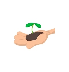 Hands holding green sprout icon vector