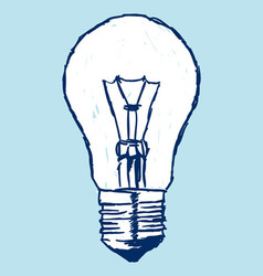 Incandescent bulb over blue vector