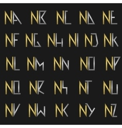 Letter N with alphabet vector image