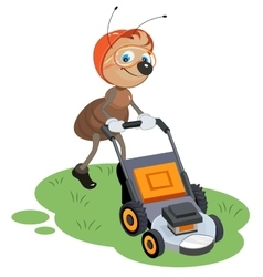 Ant gardener mows lawn gardener and lawn mower vector